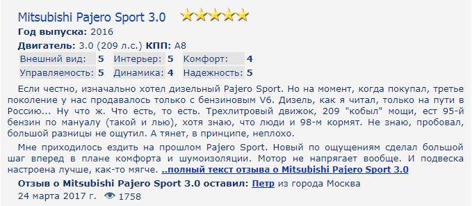 Mitsubishi Pajero Sport отзывы