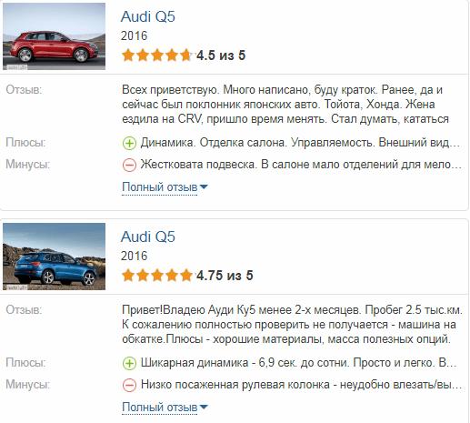 Audi Q5 отзывы