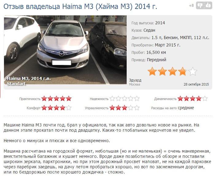 отзывы о m3 Haima