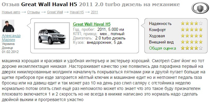 Great Wall Hover h5 отзывы