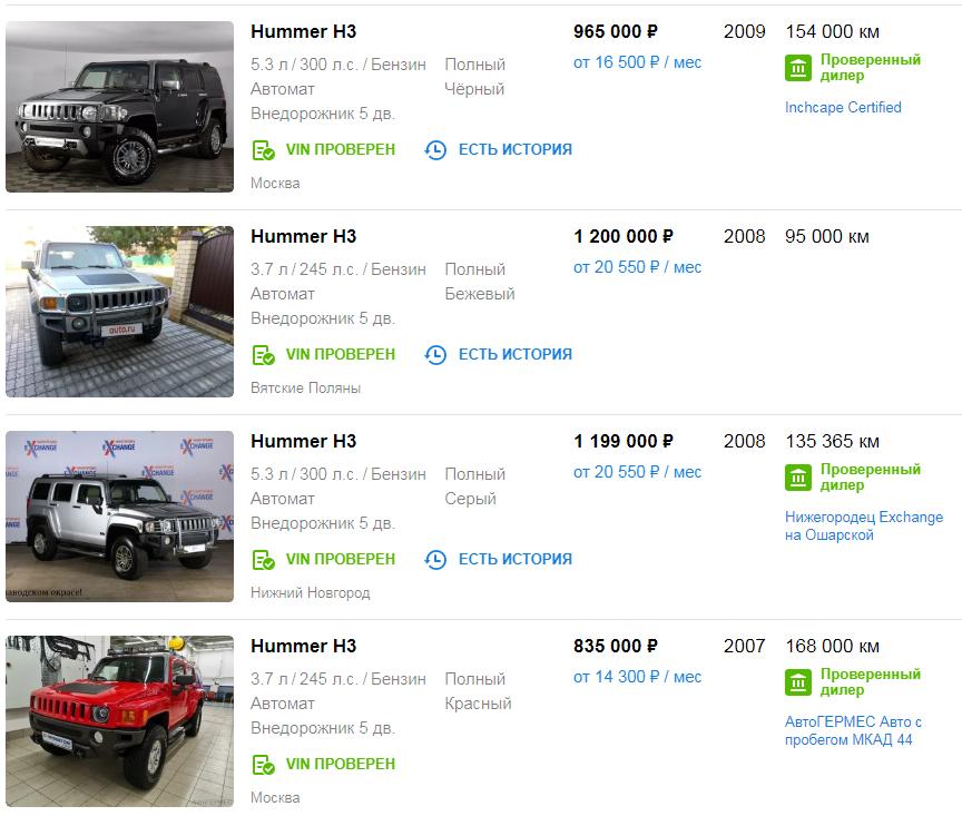Цены на Hummer H3