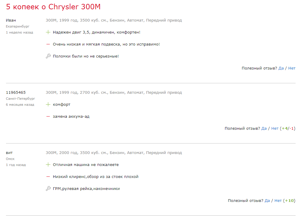 Chrysler 300M отзывы