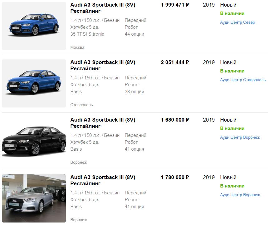 Цена на новый Audi A3 III (8V) Sedan Рестайл