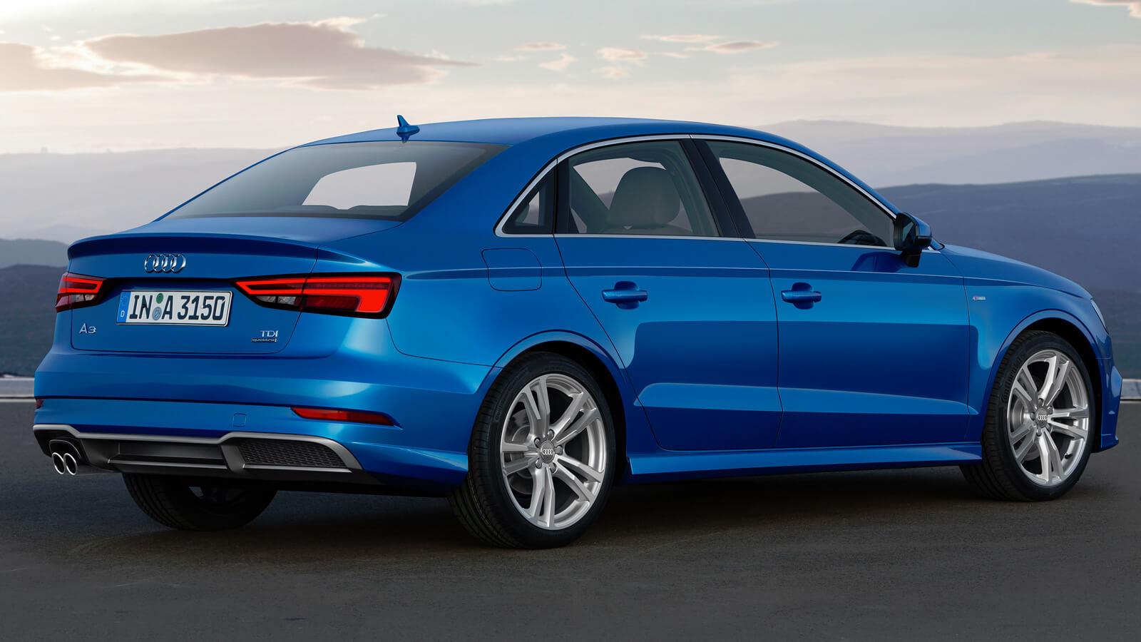 Audi A3 III (8V) Sedan Restyling - Вид сзади, синий