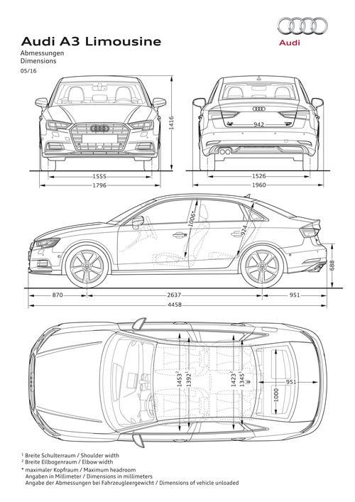 Ауди А3 III (8V) Седан Рестайлинг - Технические характеристики