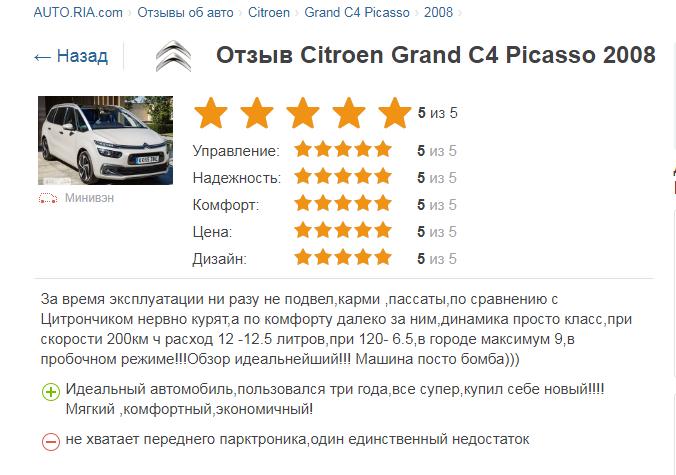 Citroen Grand C4 Picasso отзывы