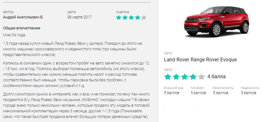 Отзыв Range Rover Evoque