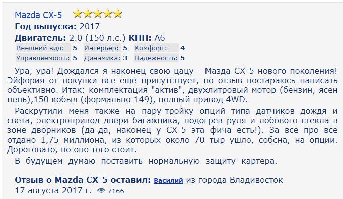 мазда сх5 отзыв