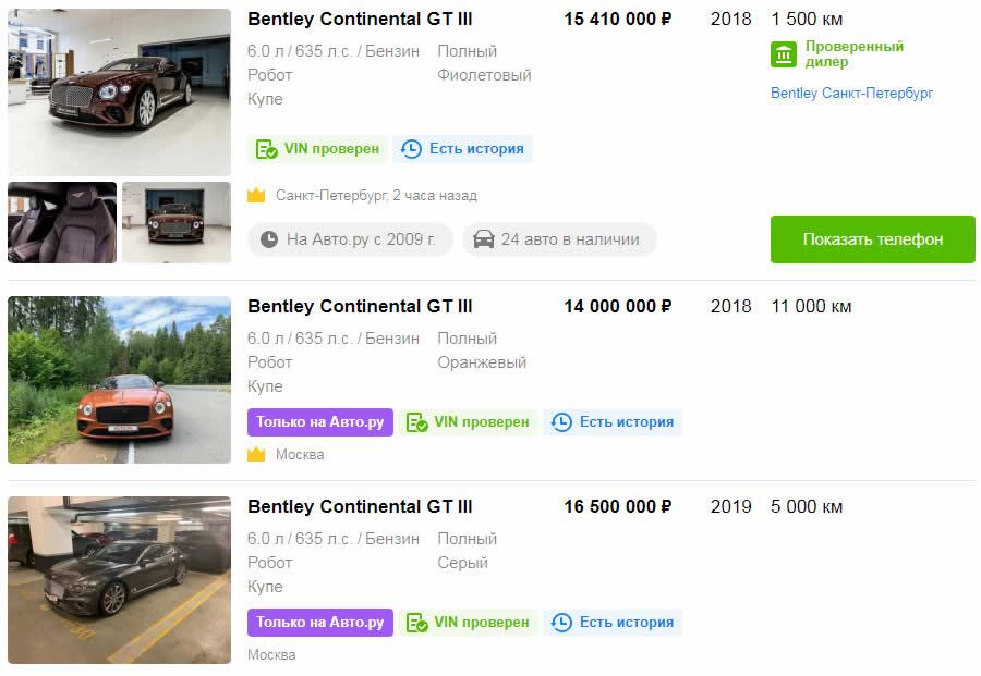 Bentley Continental GT 2017-2020 - Цена на авто с пробегом