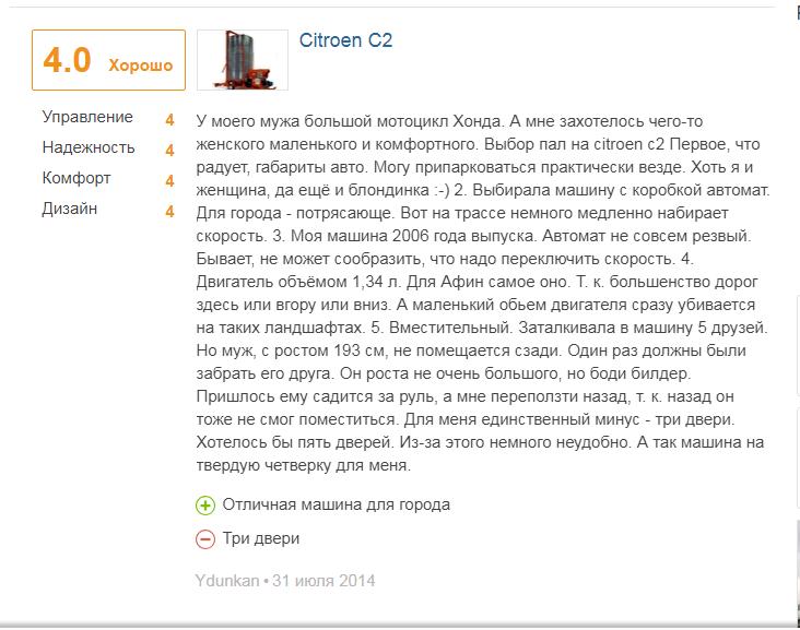 отзыво о Citroen C2