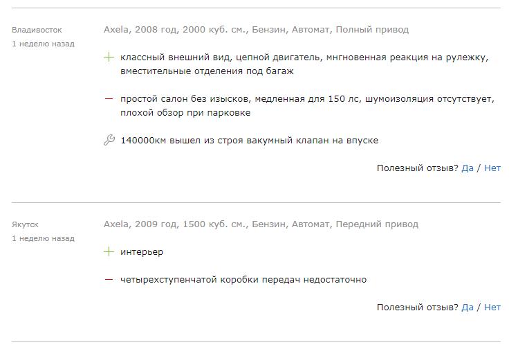 5 копеек о Mazda Axela.