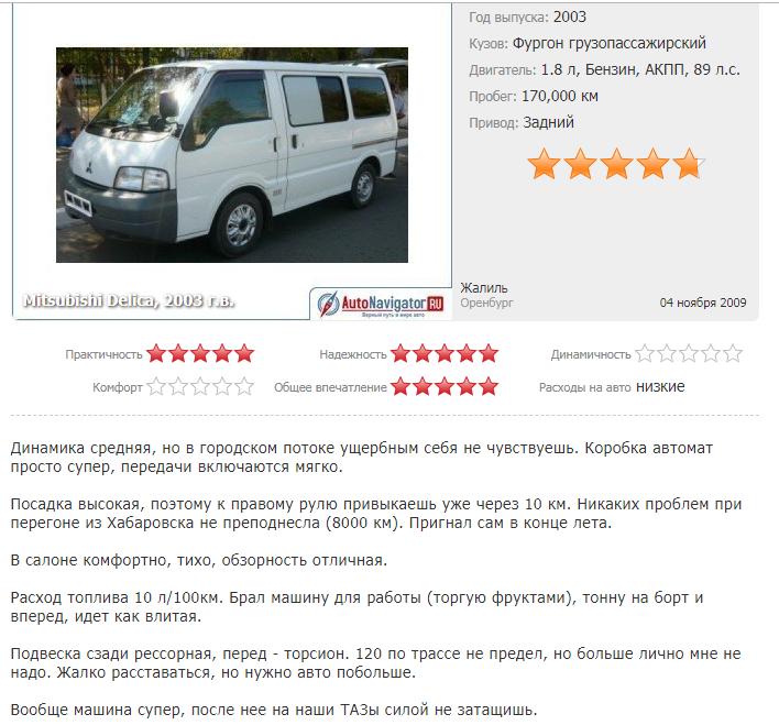 Отзыв владельца Mitsubishi Delica