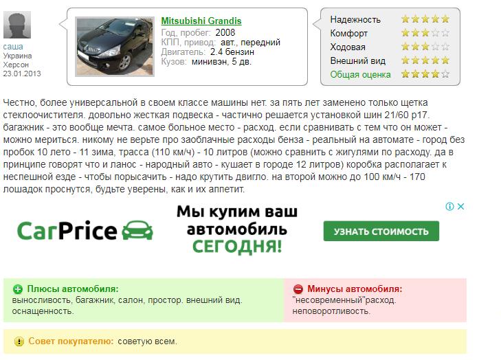 Mitsubishi Grandis: фото, отзывы, характеристики