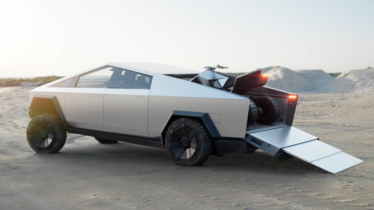 Тесла КиберТрак - С квадроциклом