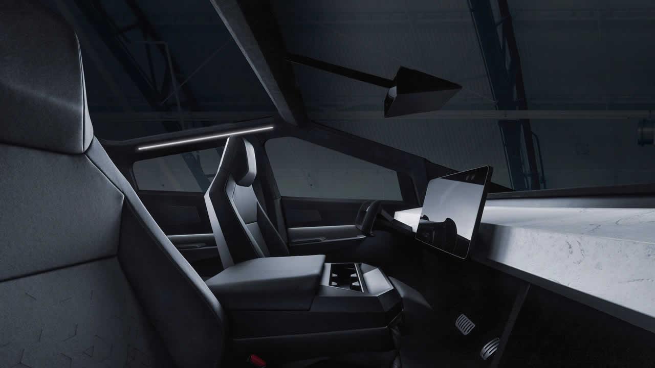 Tesla Cybertruck - Интерьер - Передние сиденья