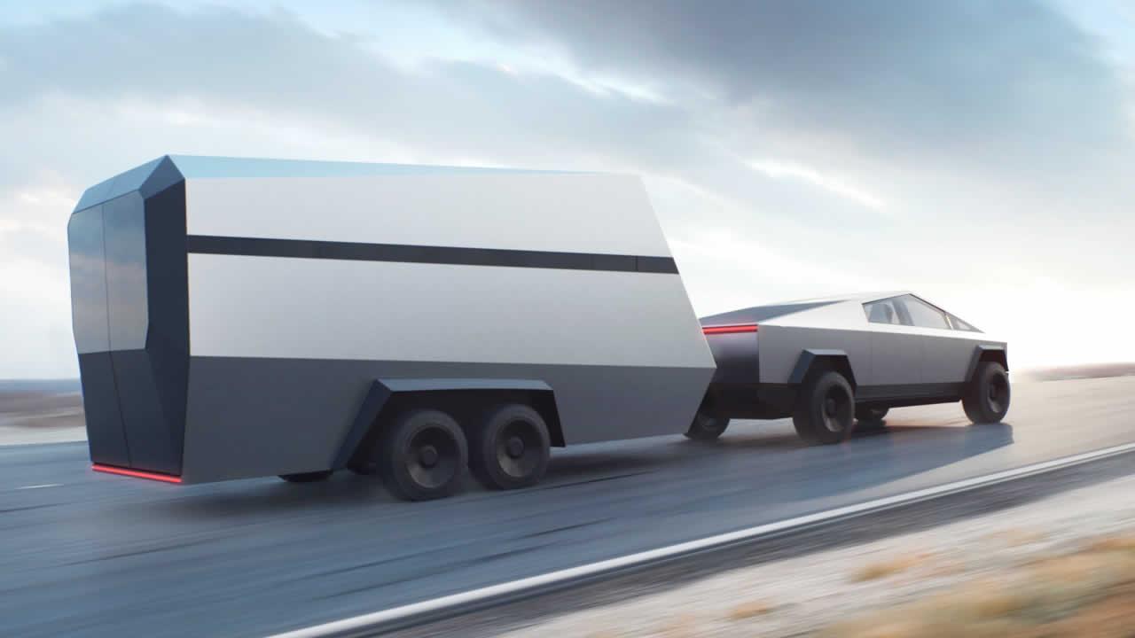 Tesla Cybertruck - Общий вид с прицепом